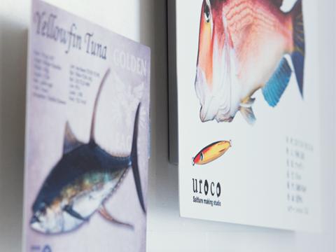 アルミパネルに印刷した魚拓のイメージ